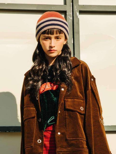 Embroidery Letter Striped Beanie Hat gallery 10