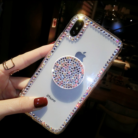 Luxury Small Rhinestone Trim Transparent Phone Case for Samsung with Phone Holder gallery 5