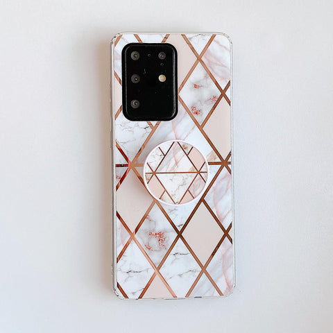 Marble Electroplated Detail Phone Case for Samsung with Phone Holder gallery 13