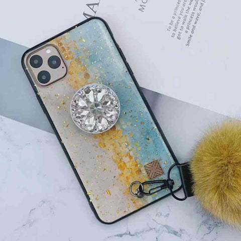 Glittering Decorate iPhone Case with Phone Holder and Pom-pom