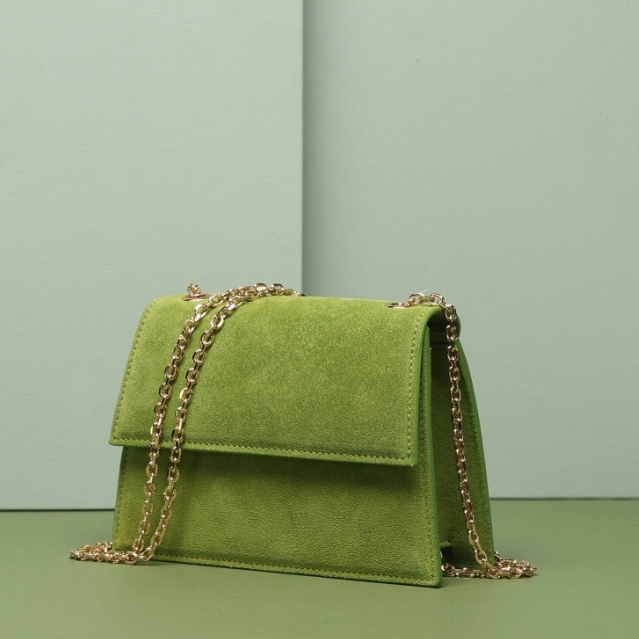 Suede Trape Mini Shoulder Bag with Chain