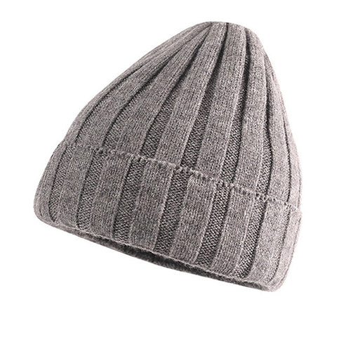 Ribbed Knit Cuffed Fuzzy Lining Beanie Hat gallery 6
