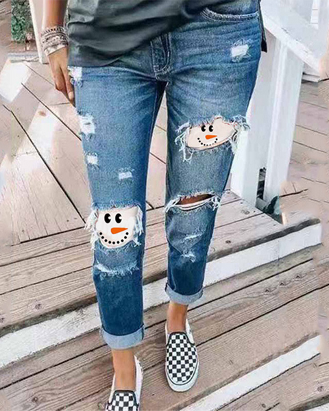 Christmas Snowman Face Patched Ripped Distressed Skinny Jeans
