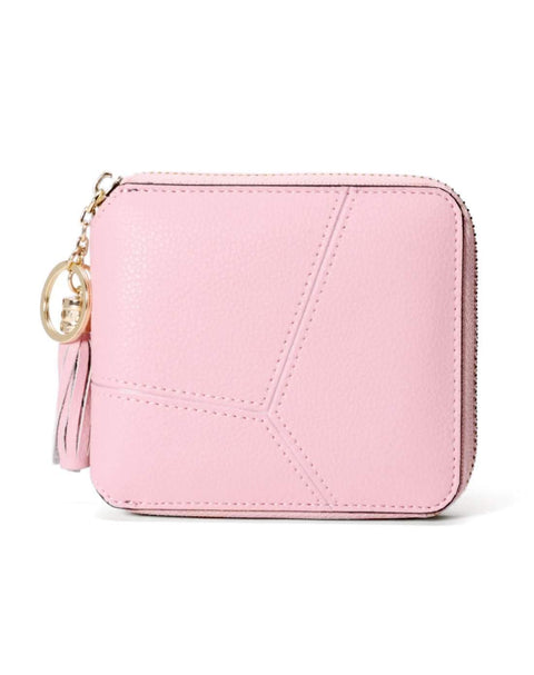 All-Match Pink Cow Leather Short Sized Minimalism Wallet With Zipper gallery 2