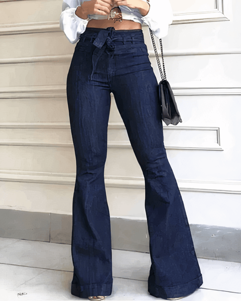 Tie Waist Butt Lifting Flare Jeans