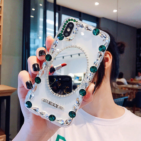 Oval Mirror Rhinestone Side Deco Phone Case for Samsung gallery 7