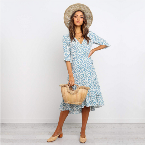 V-Neck Wrap Ditsy Floral Print Frill Midi Dress