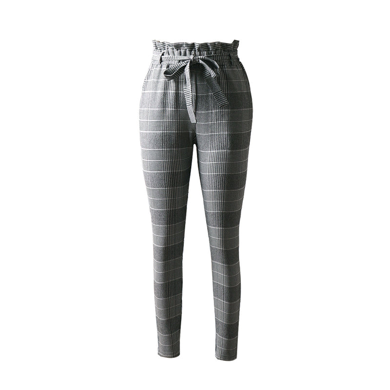 Pleated Belt Front Plaid Design High Rise Pants