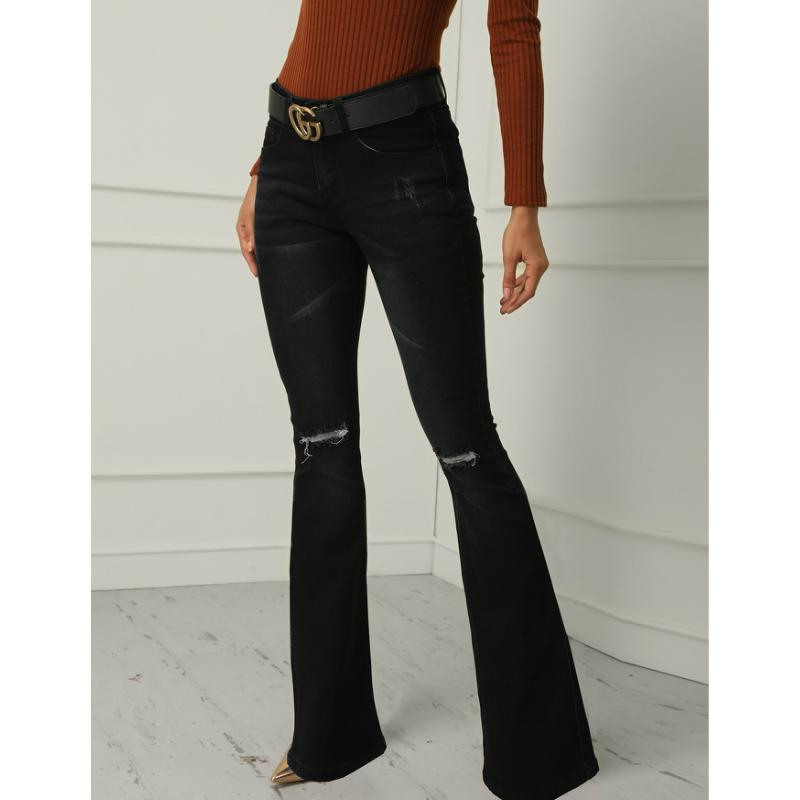 Elastic High Rise Ripped Down Flare Jeans