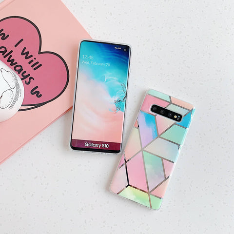Color Block Electroplate Rhombus Marble Phone Case for Samsung gallery 5