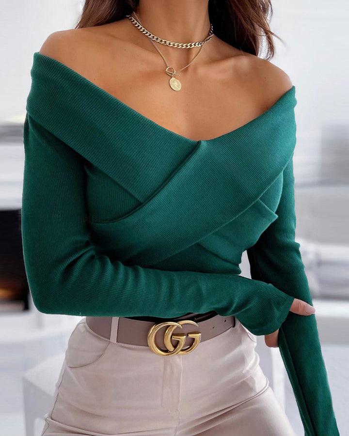 Surplice Neck Overlap Ribbed Knit Sweater gallery 3