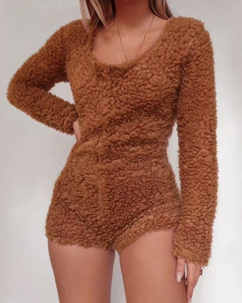 Scoop Neck Fluffy Knit Sweater Romper