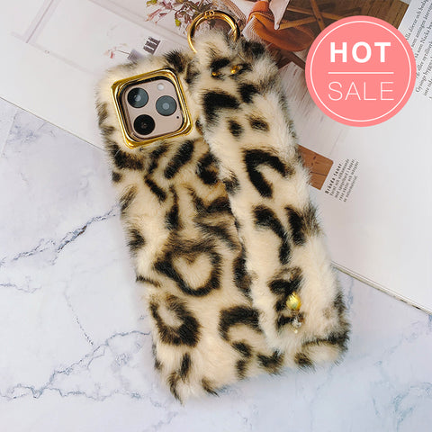 Leopard Print Fur iPhone Case with Hand Strap
