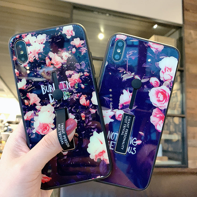 Peony Pattern With Wrist Strap And Phone Stand Phone Case For All Apple Phone - Iphone 7 Plus/8 Plus