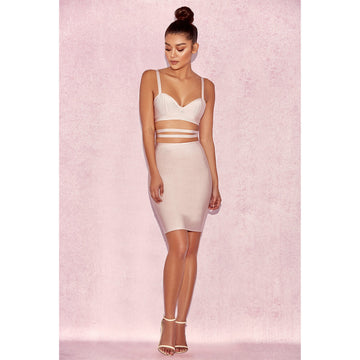 Pink Two Piece Bralet Bandage Dress Suit