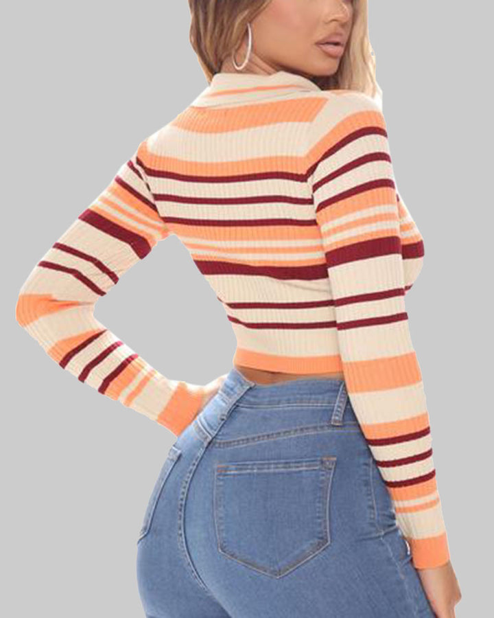 Striped Button Up Bodycon Crop Sweater gallery 9