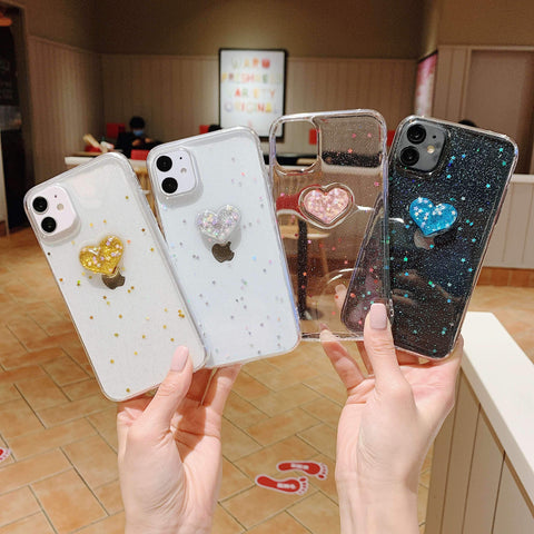 Glitter Colored Heart Pattern Little Star Detail Phone Case for Samsung gallery 13