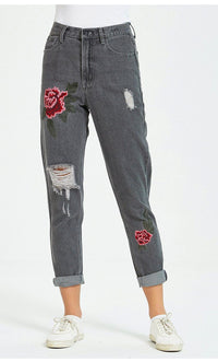 Floral Embroidered Ripped Straight-Leg Jeans