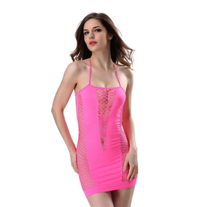 Hollow Out Halter Bodycon Night Dress