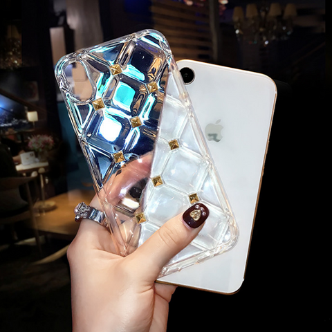 Clear Diamond Pattern Rivet Stud Phone Case for Samsung gallery 7