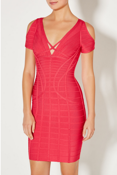 Sexy V-neck Strappy Cut-out Shoulder Bandage Dress gallery 7