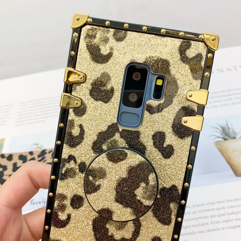 Luxury Leopard Pattern Phone Case for Samsung with Phone Holder and Hand Strap gallery 8