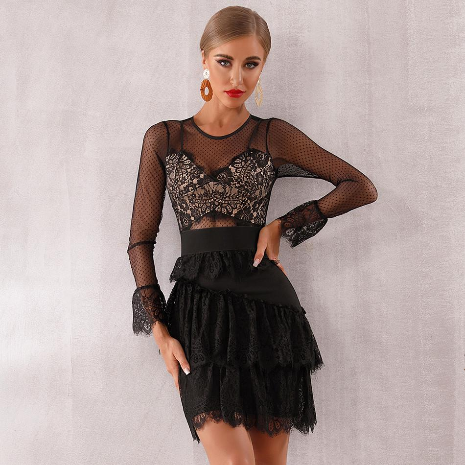 Black Mesh Lace Frill Detail Corset Tiered Dress