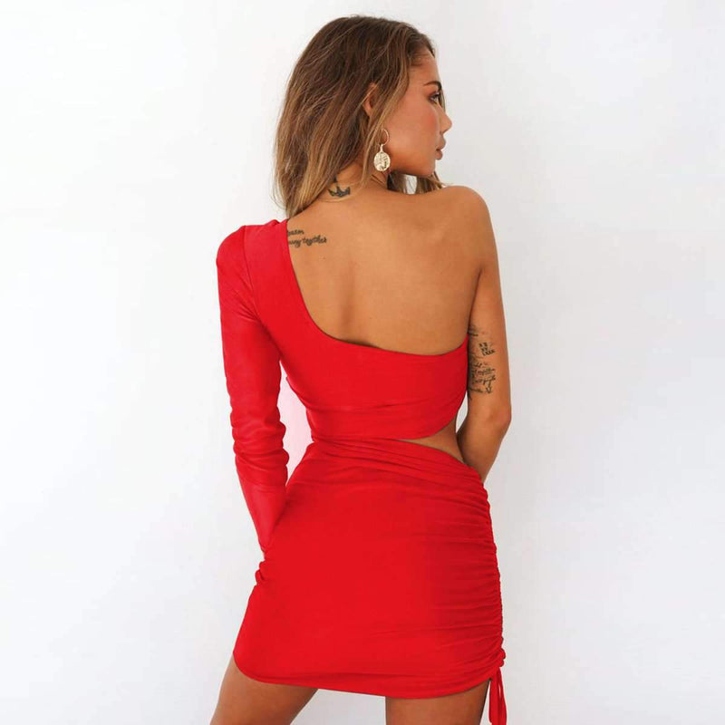 One Shoulder Ruched Cut Out Dress
