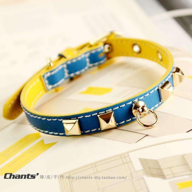 Cute Blue &Yellow Print Leather Pet Collar For All Pets