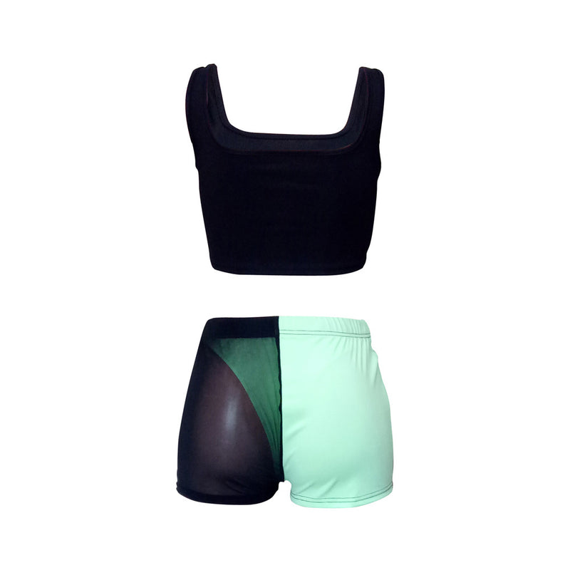 Square Neck Sleeveless Mesh Detail Cropped Top & Short Set