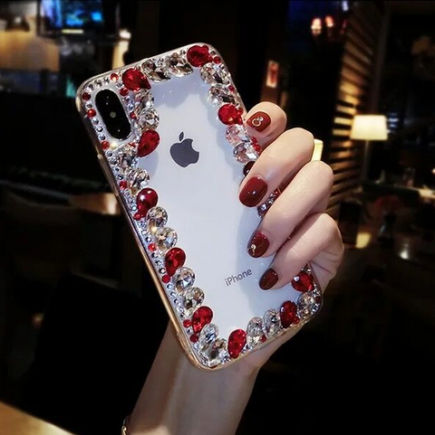 Glittering Rhinestone Side Clear Transparent Phone Case for Samsung gallery 5