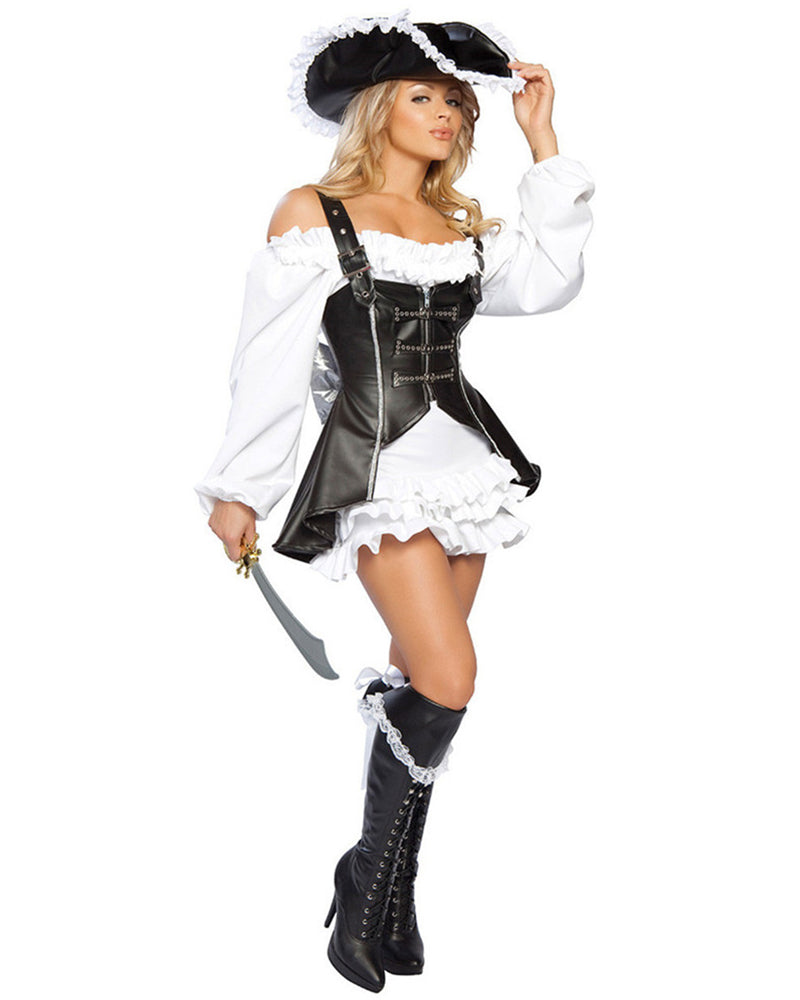 Frill Trim Faux Leather Pirate Costume Set