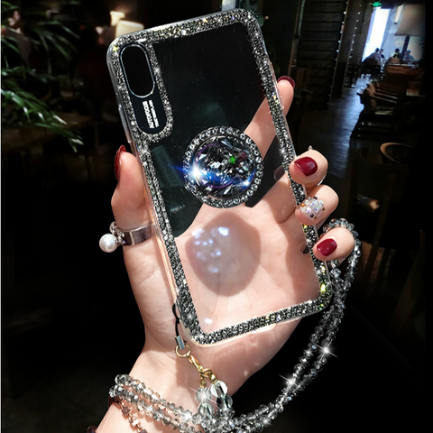 Luxury Crystal Stud Edge iPhone Case with Phone Holder and Hand Strap gallery 6