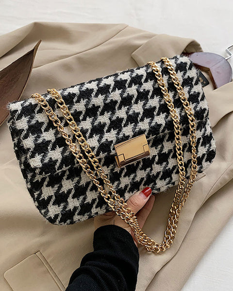 Houndstooth Pattern Flap Chain Bag