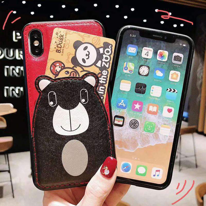 Cute Pig And Bear Pattern iPhone Case With Card Holder