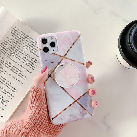 Stitching Plaid Marble Phone Case for Samsung with Phone Holder gallery 8