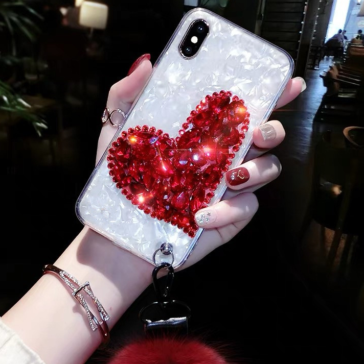 Heart Rhinestone iPhone Case with Wrist Strap and Pom-pom