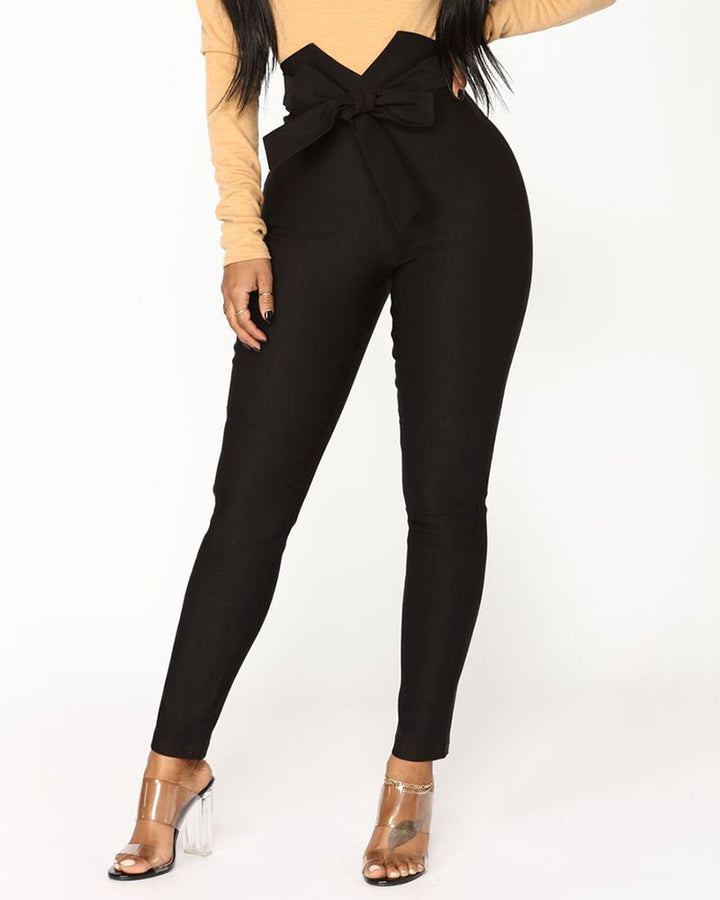 Solid Belt Tie V Wired High Waist Pants  gallery 2