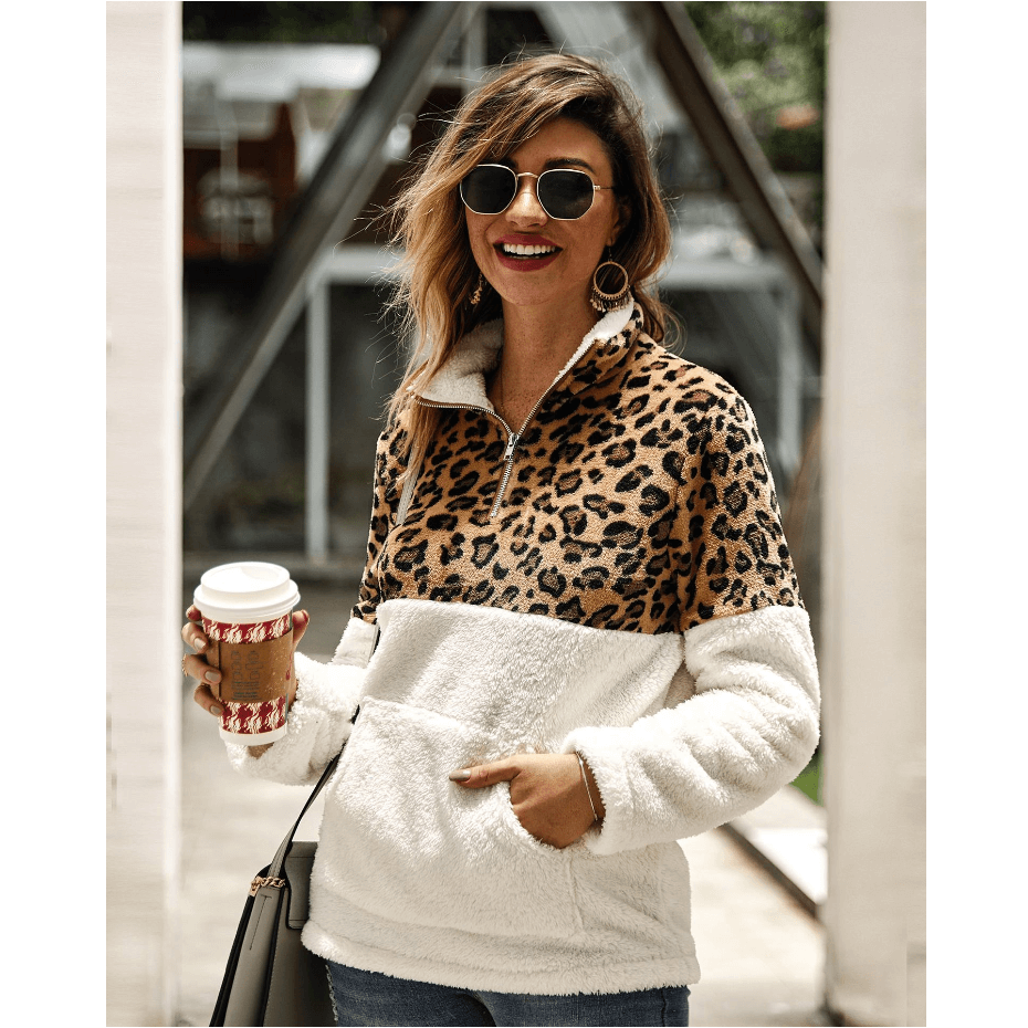 Cozy Leopard Print Borg Half-Zip Pocket Front Sweater