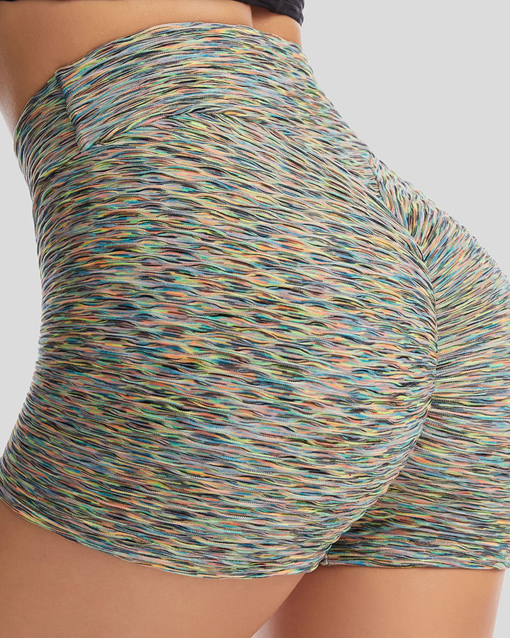 Allover Print Textured Ruched Sports Shorts gallery 1