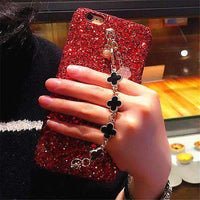 Bling Solid Color iPhone Case with Four-Leaf Clover Chain