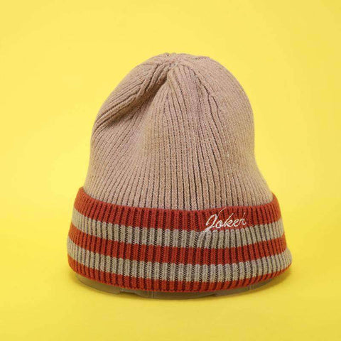 Embroidery Letter Striped Beanie Hat gallery 3