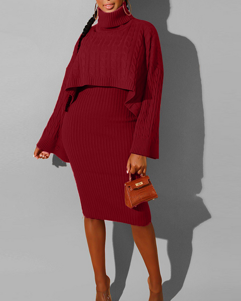 Solid Cable Knit High Neck Split Sleeve Top & Midi Dress Set