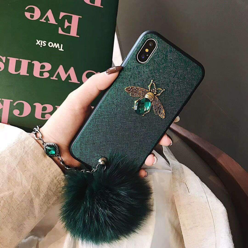 Luxury 3D Bee Designed iPhone Case with Wristband & Fuzzy Furry Plush Ball