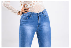 Raw Hem Beaded Split Flare Jeans