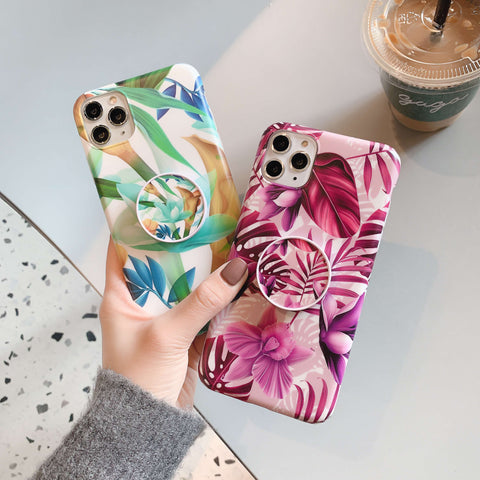Trendy Colorful Floral Print iPhone Case with Phone Holder