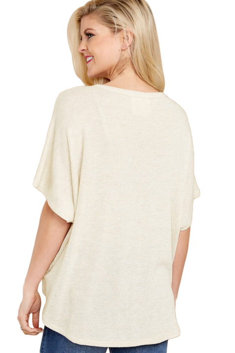 White Dolman Buttoned Front Top with Tie gallery 2