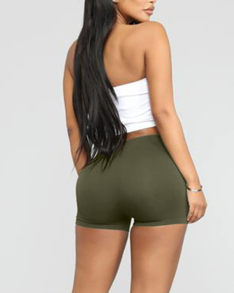 Solid Ribbed High Waist Shorts gallery 12