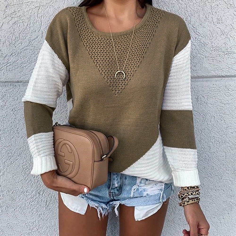 Ribbed Knit Long Sleeve Round Neck Sweater Top