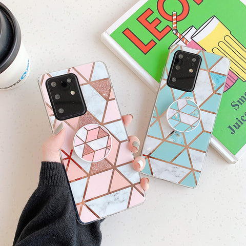 Marble Electroplated Detail Phone Case for Samsung with Phone Holder gallery 1
